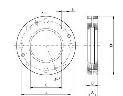 Querschnitt Schauglas Typ S für Montage auf Flansch