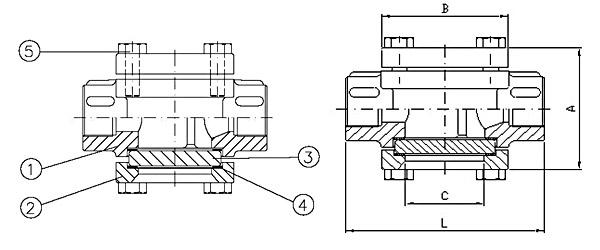 Querschnitt Durchfluss Schauglas mit Innengewinde