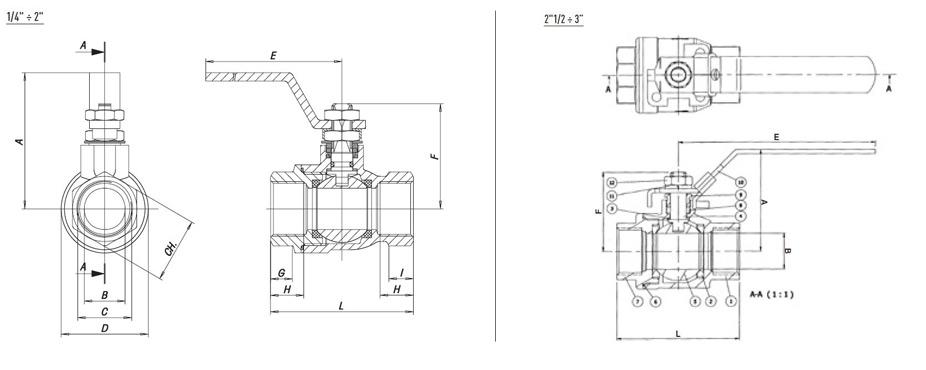 Abmessungen der DVGW Gas Kugelhähne ALBA