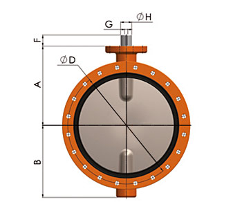 Querschnitt Absperrklappe 900 DN700-1600 Doppelflansch-Ausführung