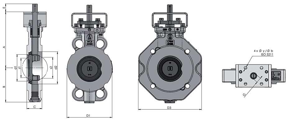 Querschnitt - doppelexzentrische Absperrklappe S2E-5