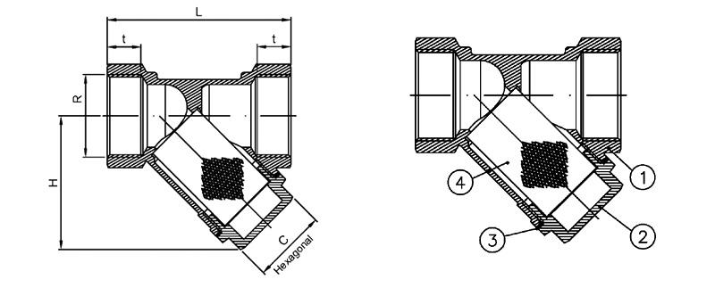 Querschnitt von Schmutzfänger Y-Typ PN16 aus Messing