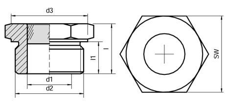 Querschnitt Schraubschauglas M-Gewinde und G-Gewinde