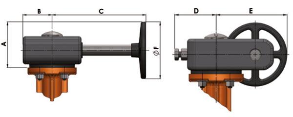 Querschnitt - Schneckenradgetriebe und Handrad für Absperrklappe 900