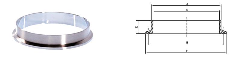 Technische Zeichnung - Vorschweißflansch TC