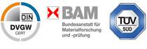 Flachdichtung TÜV zertifiziert, DVGW Zertifikat, BAM zertifiziert