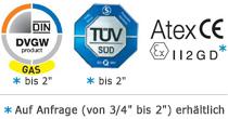 Kugelhahn mit DVGW GAS Zulassung, TÜV geprüft, ATEX CE mit 2 Zoll