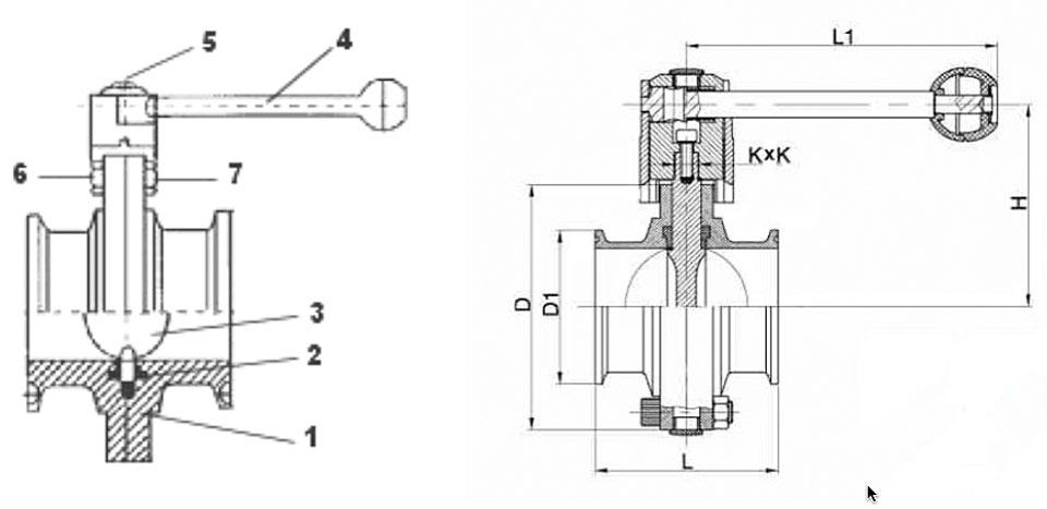 36-2904 Clamp Absperrklappe technische Zeichnung für Abmessungen