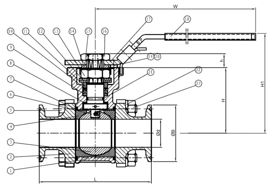 36-2933 Kugelhahn technische Zeichnung für Abmessungen