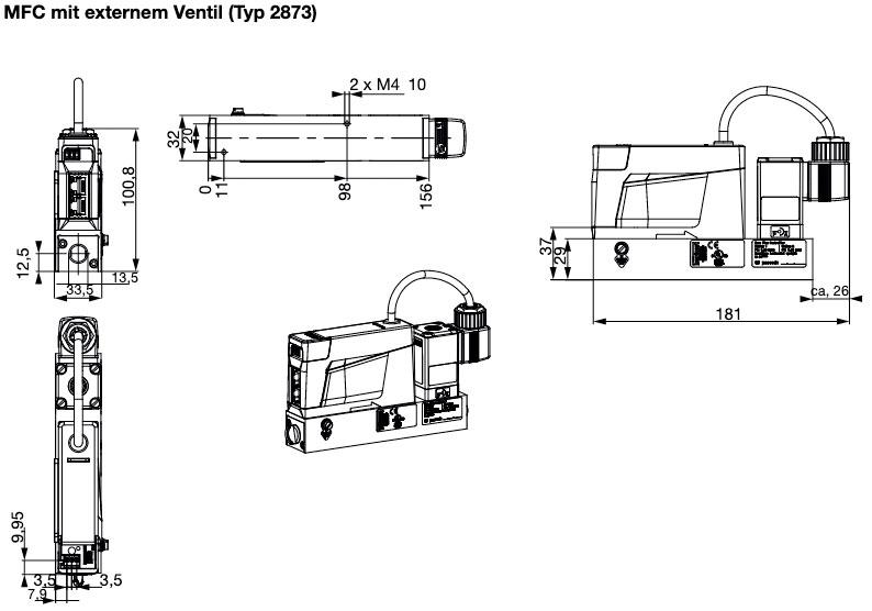 Querschnitt des Bürkert Massendurchflussmesser 8741 externes Ventil