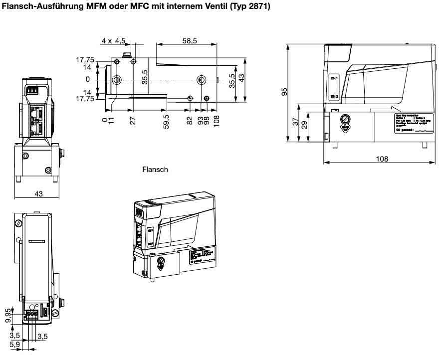 Abmessungen und Querschnitt des Massendurchflussmesser 8741 Flansch von Bürkert