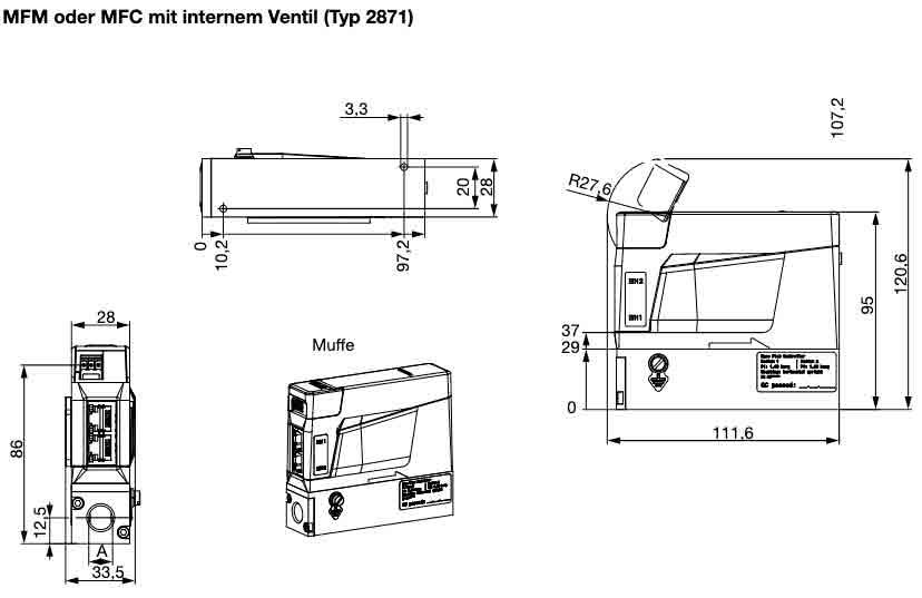Abmessungen und Querschnitt des Massendurchflussmesser 8741 internes Ventil