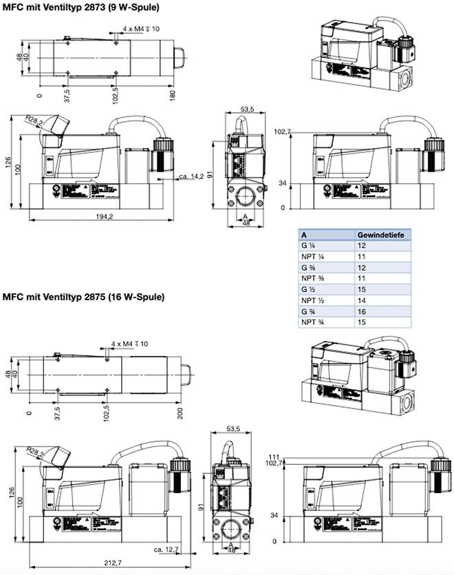 Abmessungen und Querschnitt des Massendurchflussregler 8745 von Bürkert