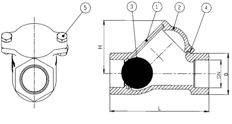 Abmessungen für Kugelrückschlagventil KVR mit Muffenanschluss