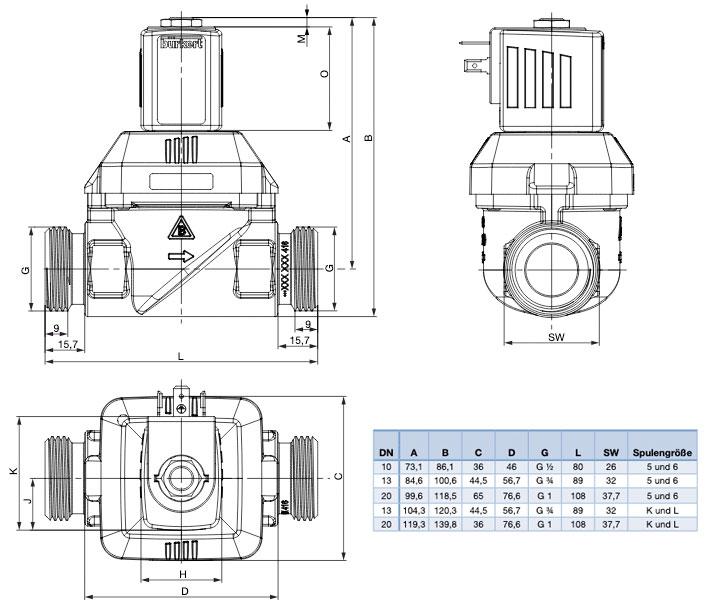 Technische Zeichnung zu Rotguss Ausführung vom Membranventil federgekoppelt 6281EV