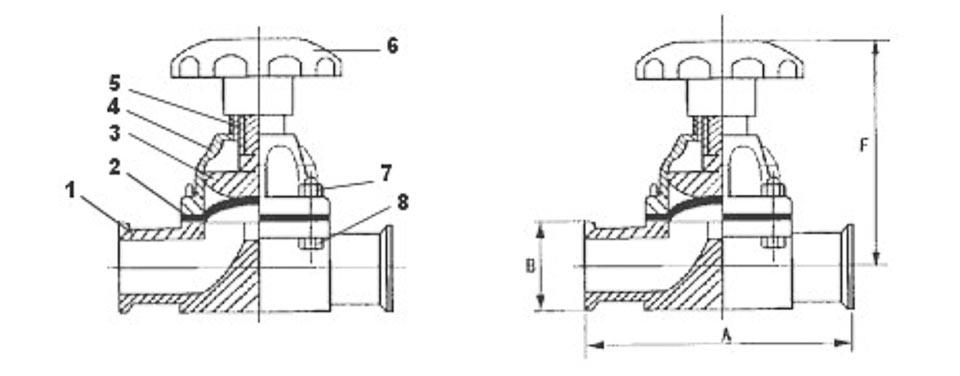 36-2945 Membranventil technische Zeichnung für Abmessungen