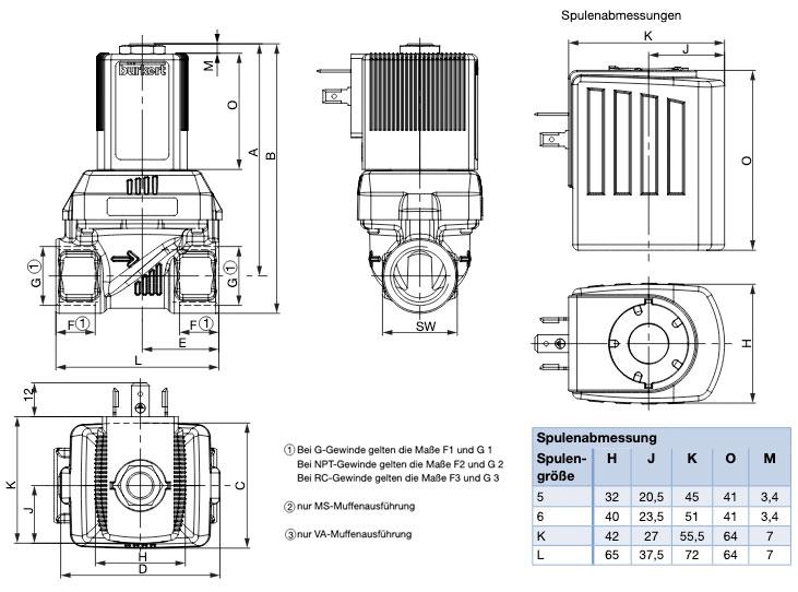 Technische Zeichnung zum Magnetventil 6281EV von Bürkert