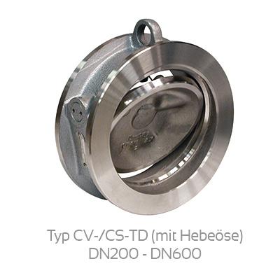 Rückschlagklappe Typ CV-/CS-TD mit Hebeöse DN200 - DN600 (tilting disc check valve)